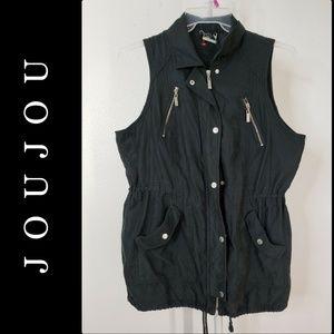JouJou Woman Zipper Front Vest Coat Jacket Size XL